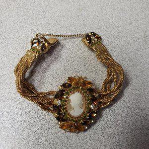 Vintage HOBE Rhinestone & CAMEO Bracelet